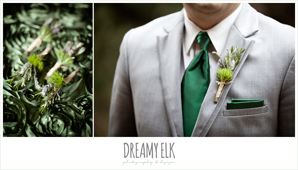 green and purple boutonniere, gray suit, winter vineyard wedding, dreamy elk photography and design