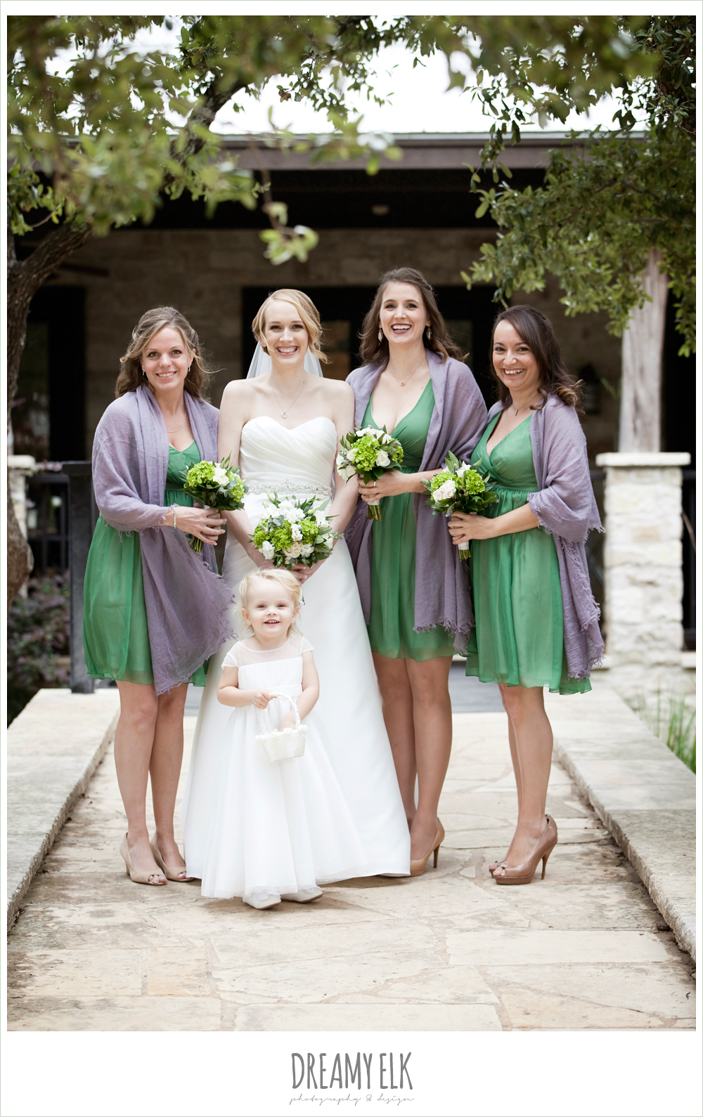 sweetheart strapless wedding dress, short green bridesmaids dresses, purple shawls, winter vineyard wedding, dreamy elk photography and design