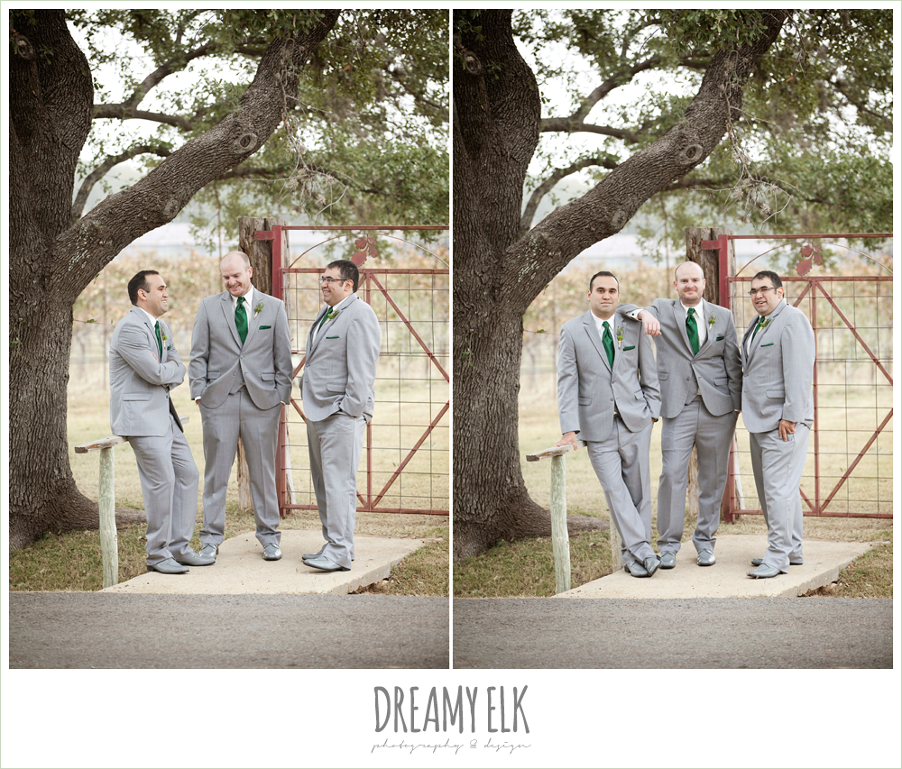 groom and groomsmen in gray suits, winter vineyard wedding, dreamy elk photography and design