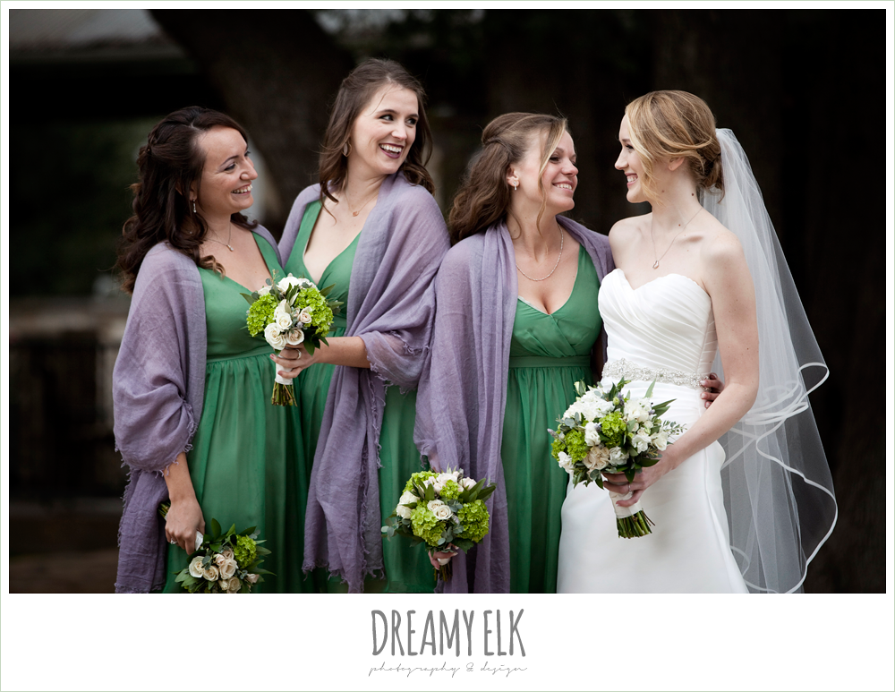 green bridesmaids dresses, purple shawls, sweetheart strapless wedding dress, winter vineyard wedding, dreamy elk photography and design