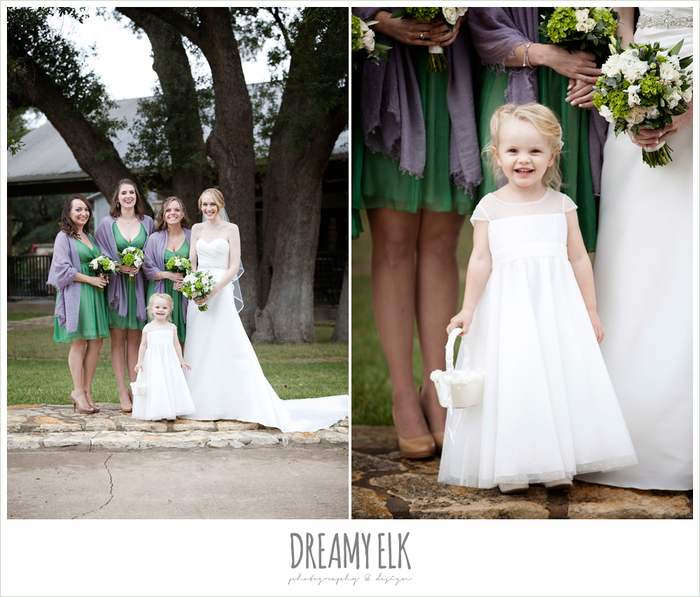 short green bridesmaids dresses, purple shawls, flower girl, winter vineyard wedding, dreamy elk photography and design