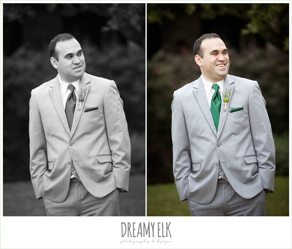 groom in gray suit and green tie, winter vineyard wedding, dreamy elk photography and design