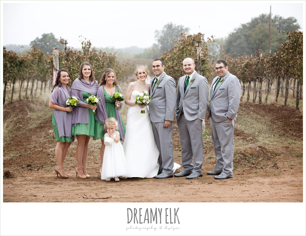 bridal party, short green bridesmaids dresses, purple shawls, gray suits, winter vineyard wedding, dreamy elk photography and design