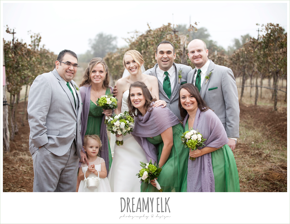 fun bridal party, short green bridesmaids dresses, purple shawls, gray suits, winter vineyard wedding, dreamy elk photography and design