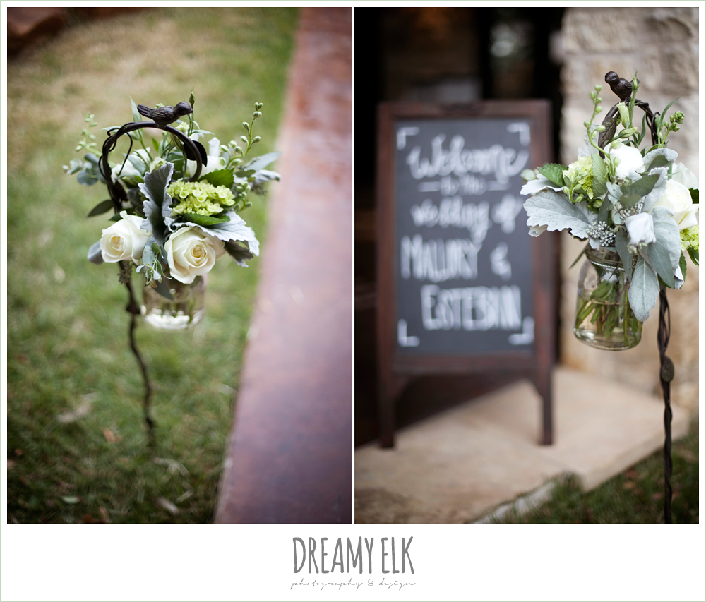 chalkboard sign, ceremony aisle flowers, white and green flowers, winter vineyard wedding, dreamy elk photography and design