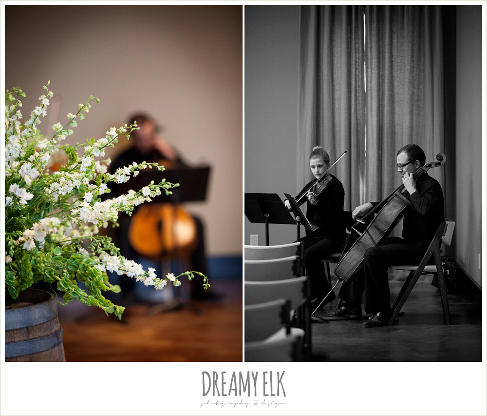 ceremony floral arrangements, cello ceremony music, winter vineyard wedding, dreamy elk photography and design