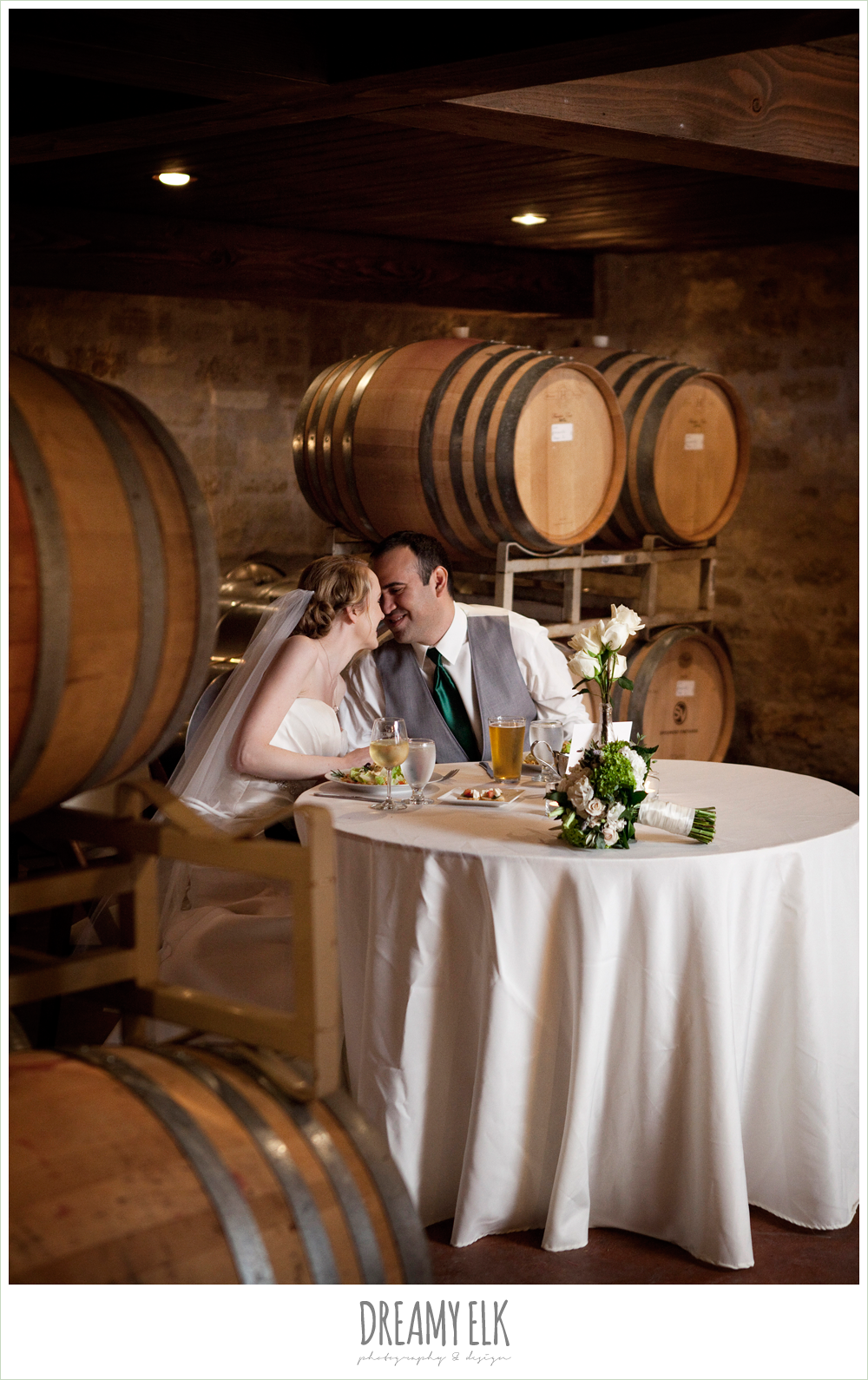 vineyard barrel room, bride and groom, winter vineyard wedding, dreamy elk photography and design