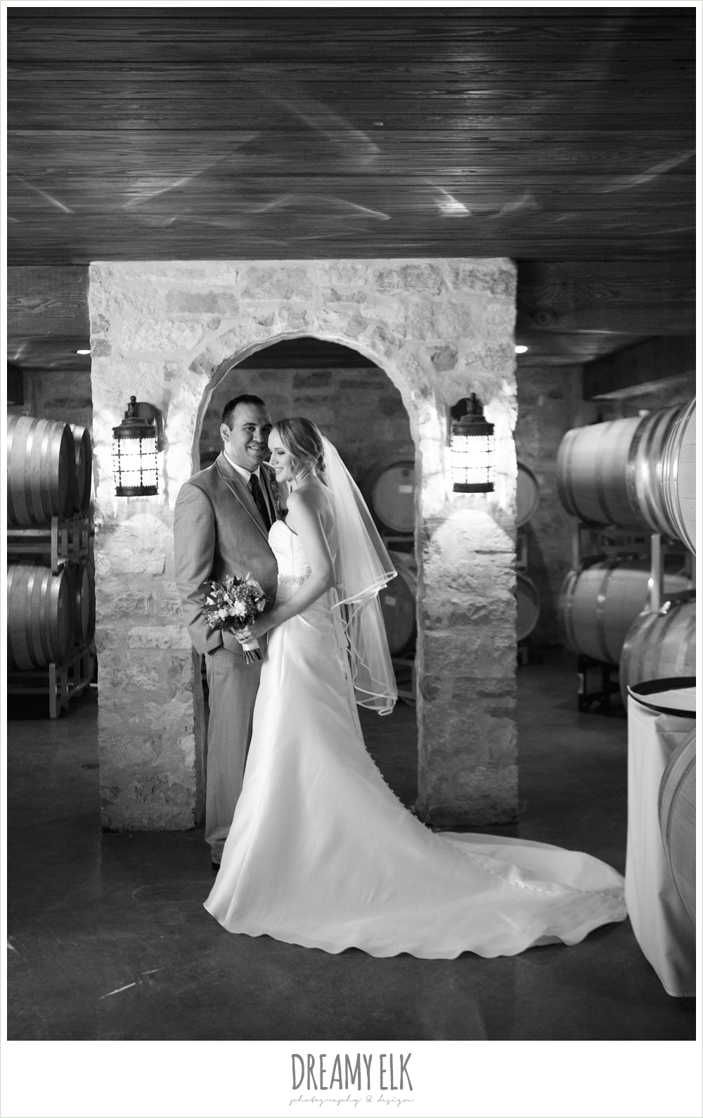 black and white, vineyard barrel room, winter vineyard wedding, dreamy elk photography and design
