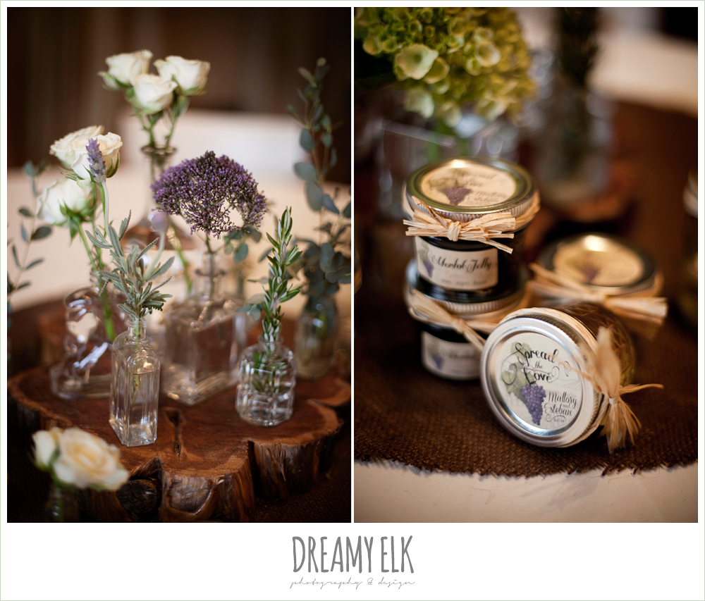 indoor wedding reception table decor, decorating with burlap, winter vineyard wedding, dreamy elk photography and design