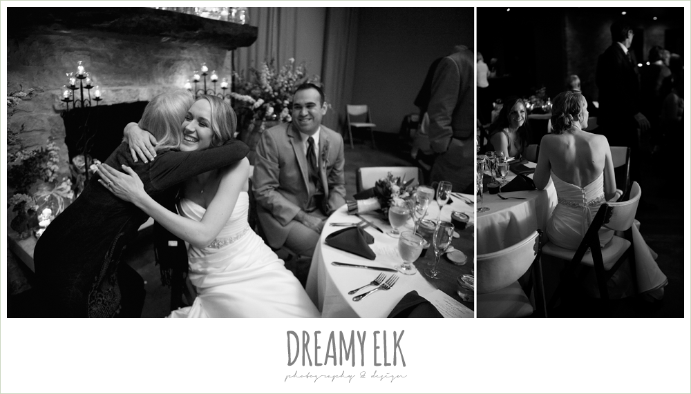 black and white, wedding reception, winter vineyard wedding, dreamy elk photography and design