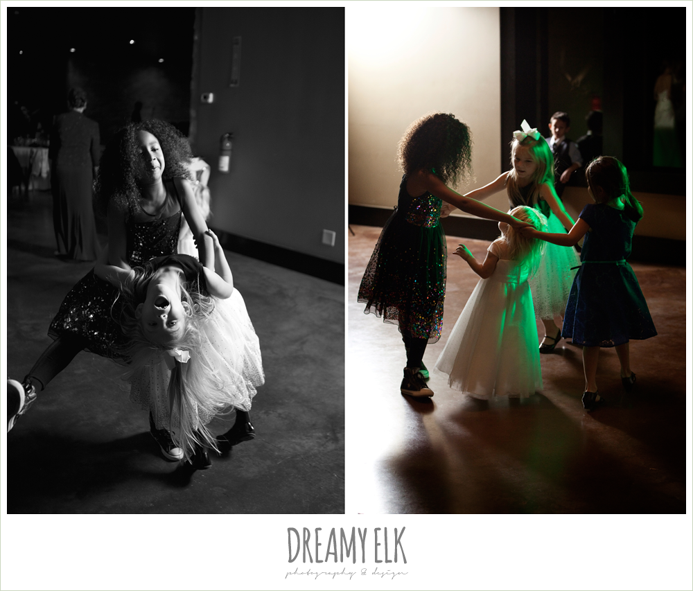 little girls dancing at wedding reception, winter vineyard wedding, dreamy elk photography and design