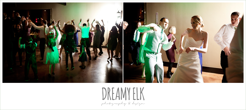 guests dancing at wedding reception, winter vineyard wedding, dreamy elk photography and design