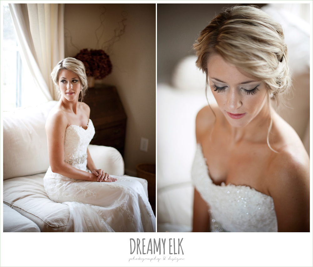 bride sitting, sweetheart strapless lace wedding dress, fall wedding, rock lake ranch, dreamy elk photography and design