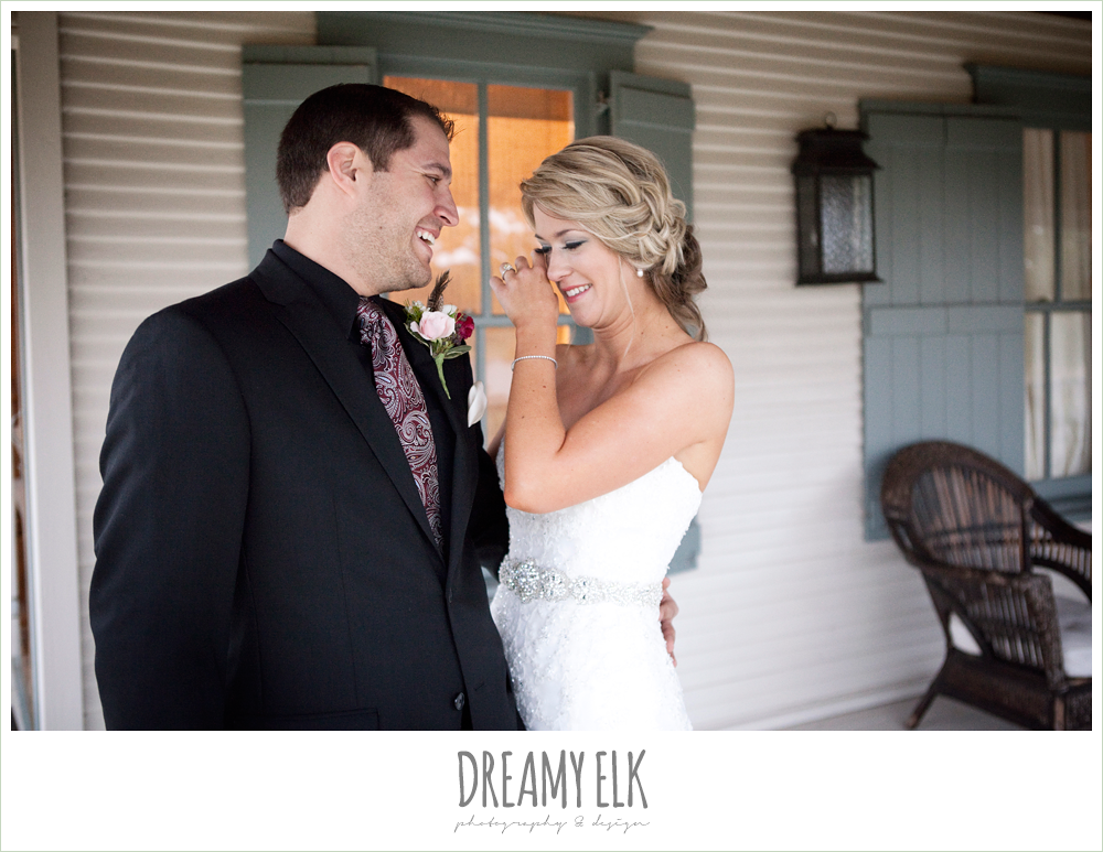 first look, bride and groom's reactions, fall wedding, rock lake ranch, dreamy elk photography and design