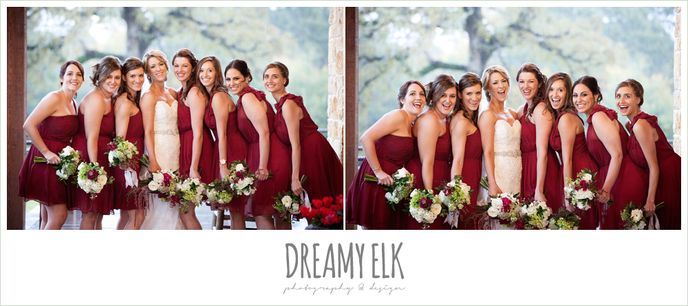 bride and bridesmaids, short cranberry bridesmaids dresses, fall wedding, rock lake ranch, dreamy elk photography and design