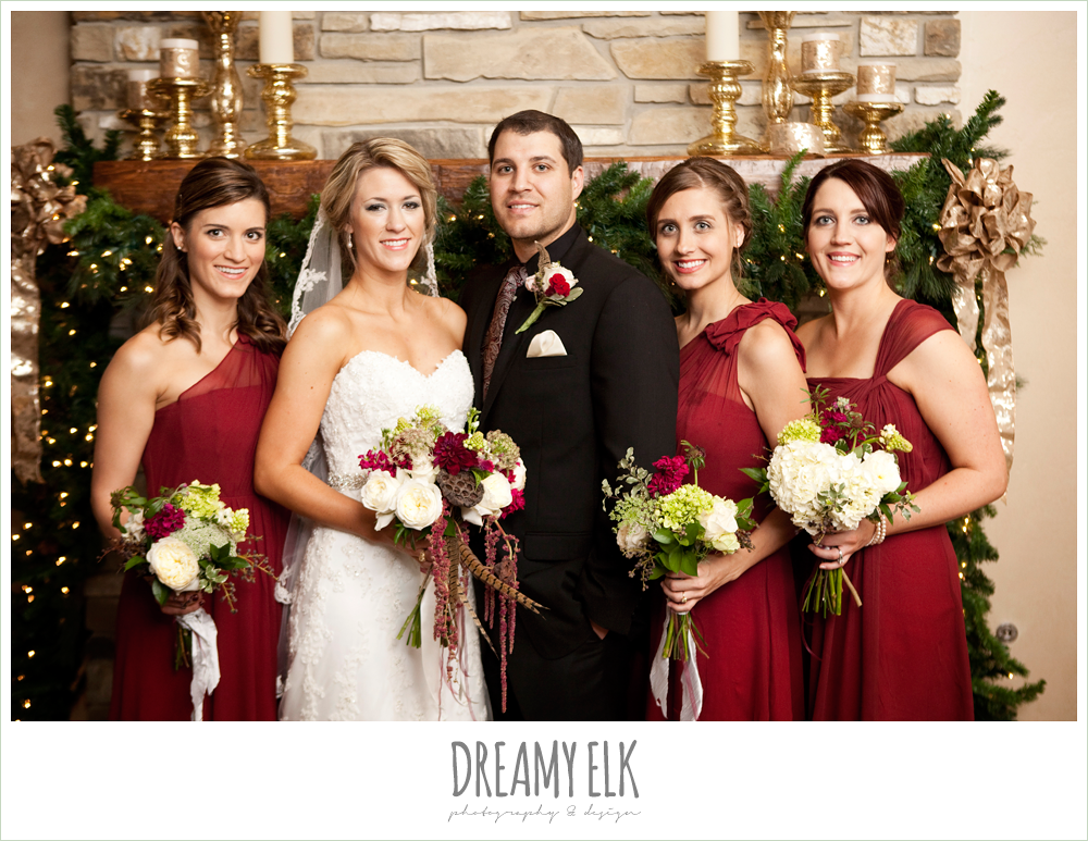 fall wedding, cranberry bridesmaids dresses, fall wedding, rock lake ranch, dreamy elk photography and design