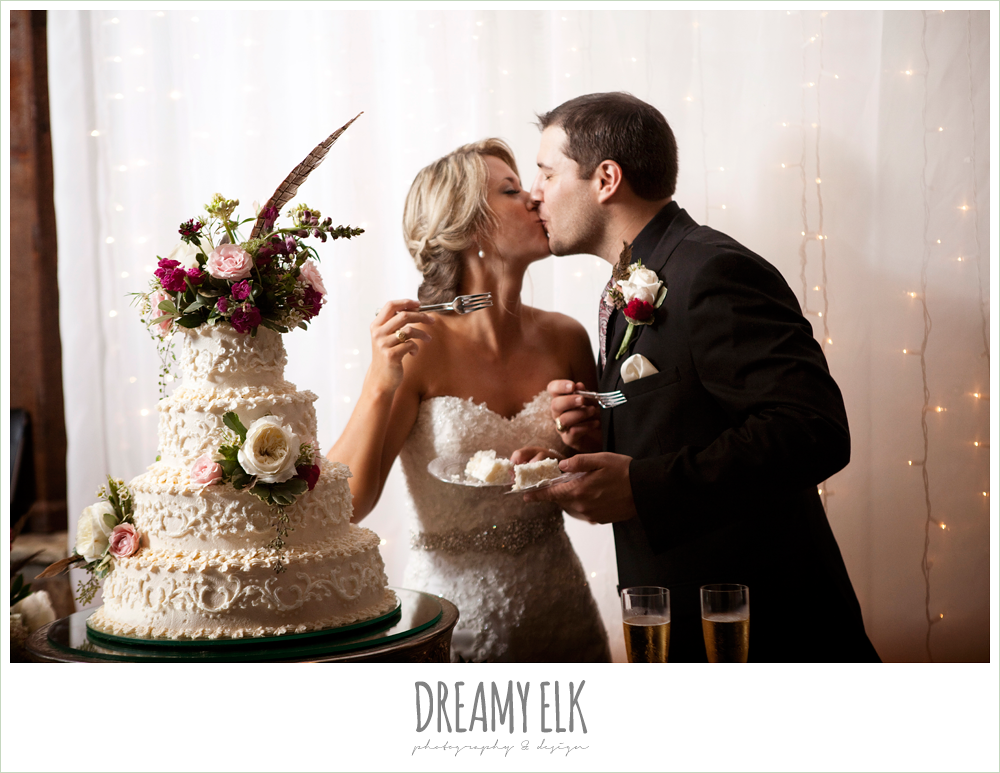 bride and groom cutting the cake, fall wedding, rock lake ranch, dreamy elk photography and design