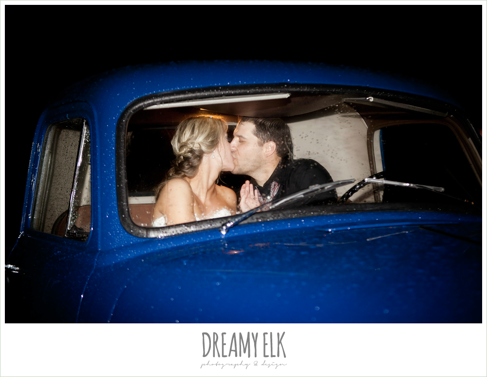 bride and groom kissing in the getaway car, classic chevy, fall wedding, rock lake ranch, dreamy elk photography and design