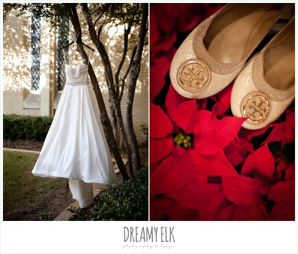 sweetheart strapless wedding dress, poinsettias, champagne flat wedding shoes, winter wedding, austin wedding photographer, dreamy elk photography and design
