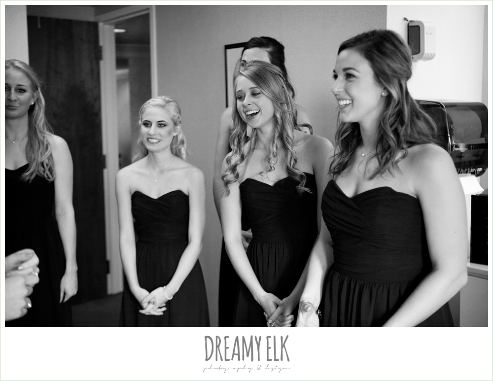 bridesmaids reaction to the bride, winter wedding, austin wedding photographer, dreamy elk photography and design