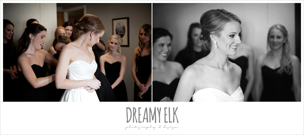 bride getting dressed, sweetheart strapless wedding dress, winter wedding, austin wedding photographer, dreamy elk photography and design