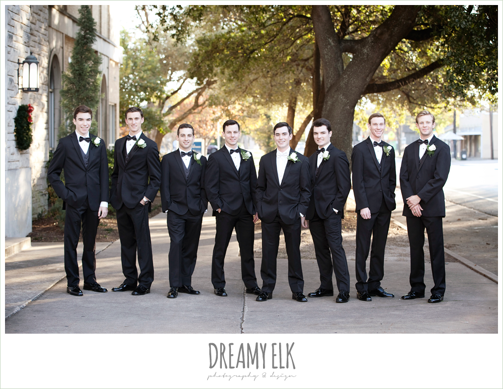 groom and groomsmen in classic tuxedos, winter wedding, austin wedding photographer, dreamy elk photography and design