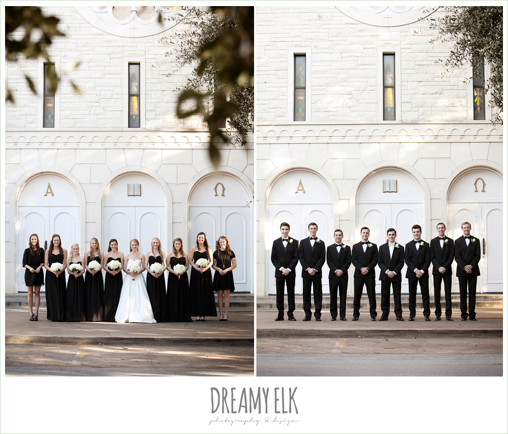 classic tuxedos, sweetheart strapless wedding dress, white wedding bouquet, black bridesmaids dresses, winter wedding, austin wedding photographer, dreamy elk photography and design