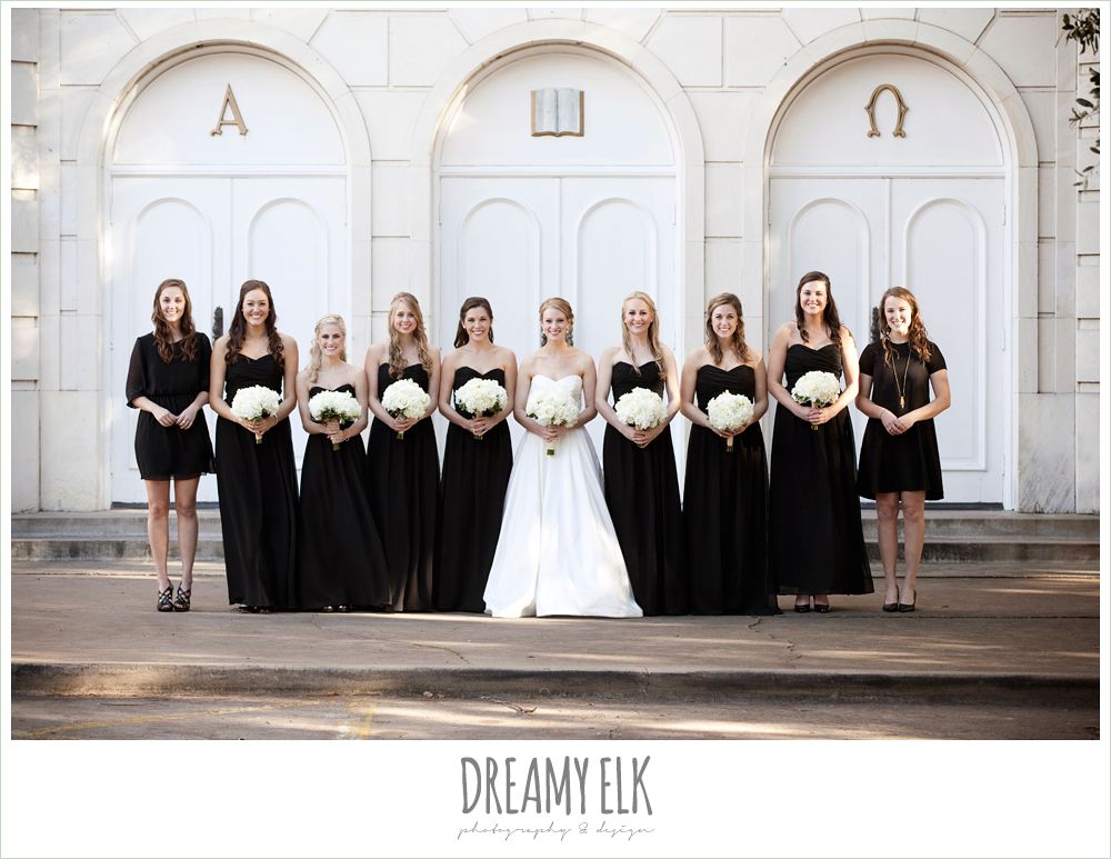 floor length black bridesmaids dresses, sweetheart strapless wedding dress, white wedding bouquet, black bridesmaids dresses, winter wedding, austin wedding photographer, dreamy elk photography and design