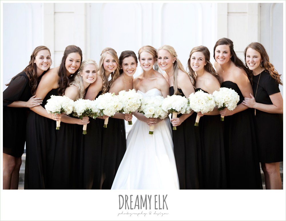 floor length bridesmaids dresses, sweetheart strapless wedding dress, white wedding bouquet, black bridesmaids dresses, winter wedding, austin wedding photographer, dreamy elk photography and design