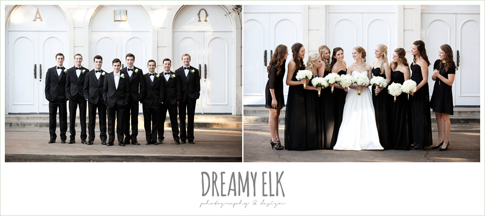 classic tuxedoes, black floor length bridesmaids dresses, sweetheart strapless wedding dress, white wedding bouquet, black bridesmaids dresses, winter wedding, austin wedding photographer, dreamy elk photography and design