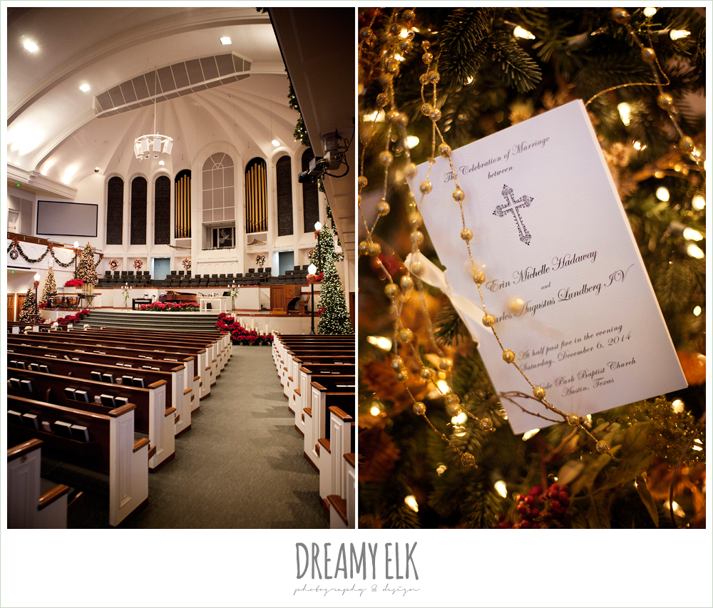 hyde park baptist church, ceremony program, winter wedding, austin wedding photographer, dreamy elk photography and design