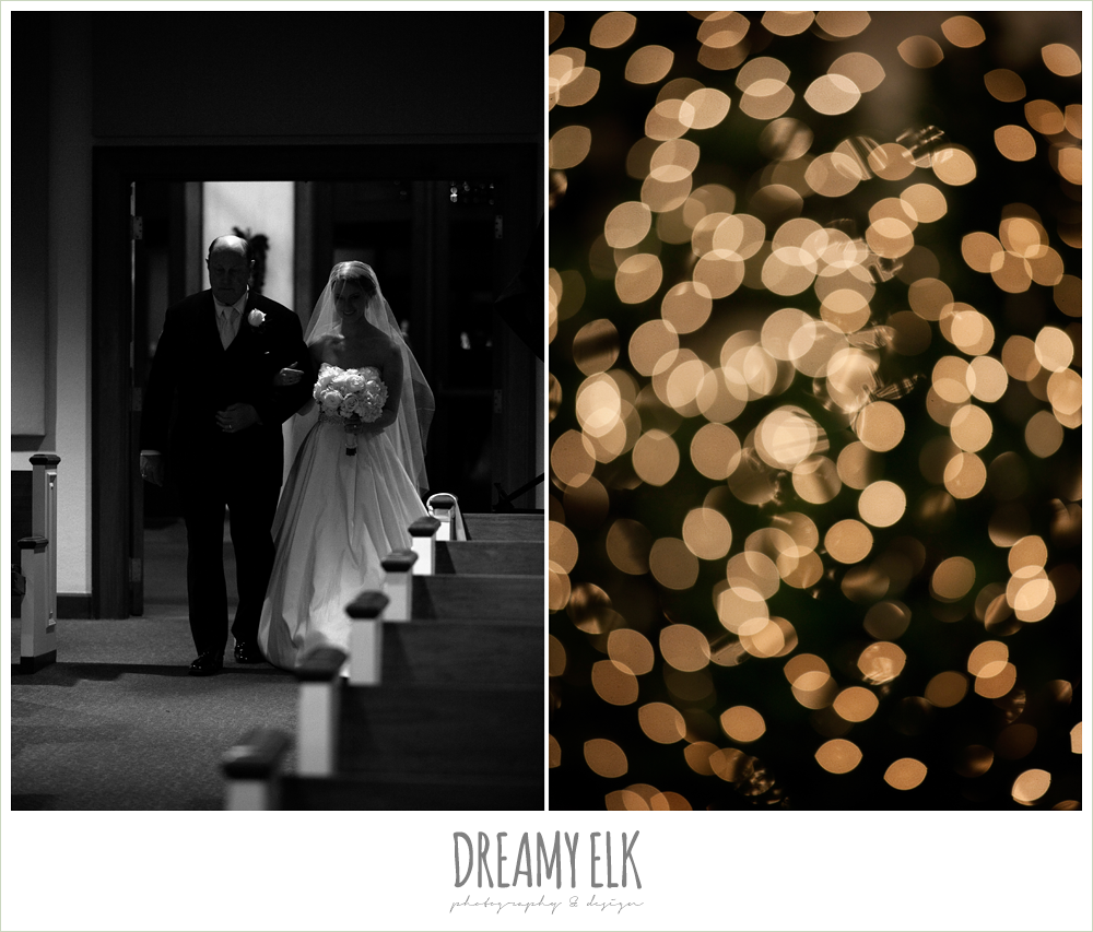 bride and dad walking down the aisle, winter wedding, austin wedding photographer, dreamy elk photography and design