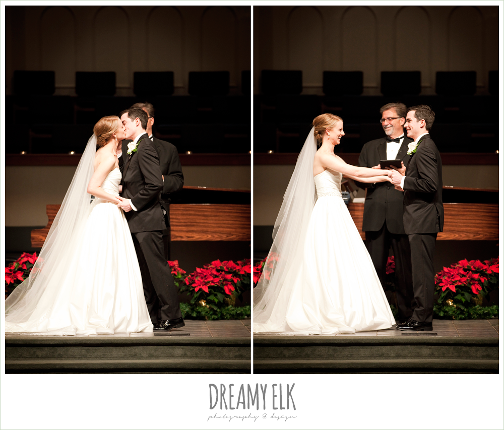 bride and groom kissing, ceremony, winter wedding, austin wedding photographer, dreamy elk photography and design
