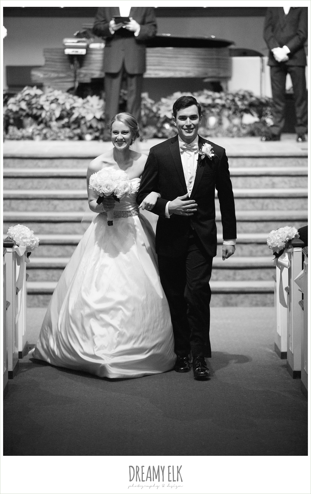 bride and groom walking down the aisle, winter wedding, austin wedding photographer, dreamy elk photography and design