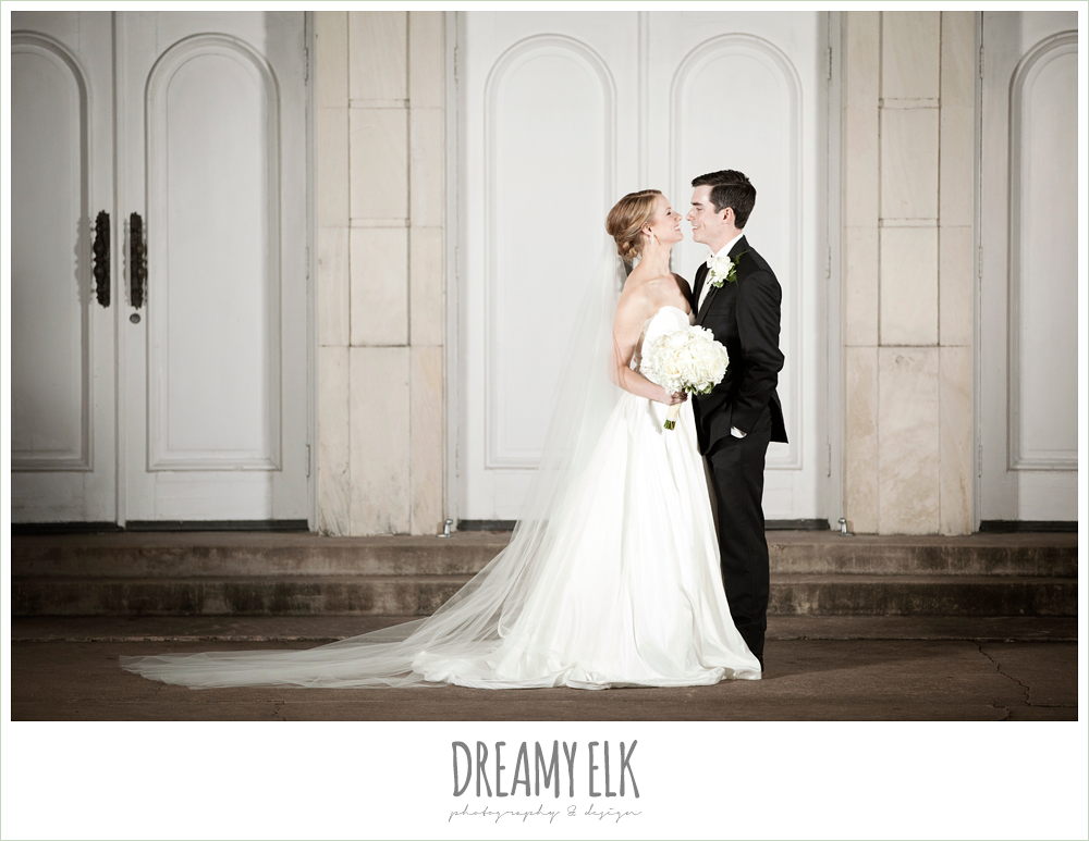 bride and groom, cathedral length veil, winter wedding, austin wedding photographer, dreamy elk photography and design