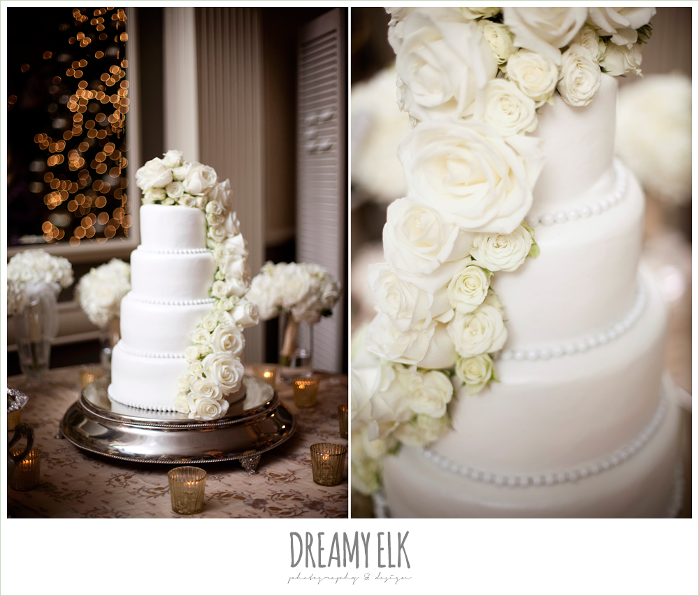 four tier white wedding cake, white roses, winter wedding, austin wedding photographer, dreamy elk photography and design