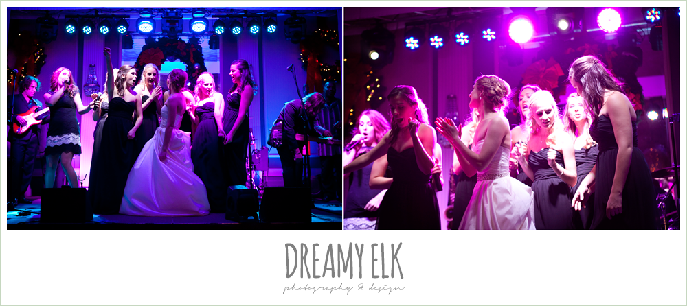 bride and bridesmaids dancing, live band at reception, the blind date, winter wedding, austin wedding photographer, dreamy elk photography and design