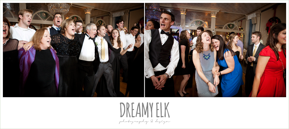 guests singing and dancing at wedding reception, winter wedding, austin wedding photographer, dreamy elk photography and design