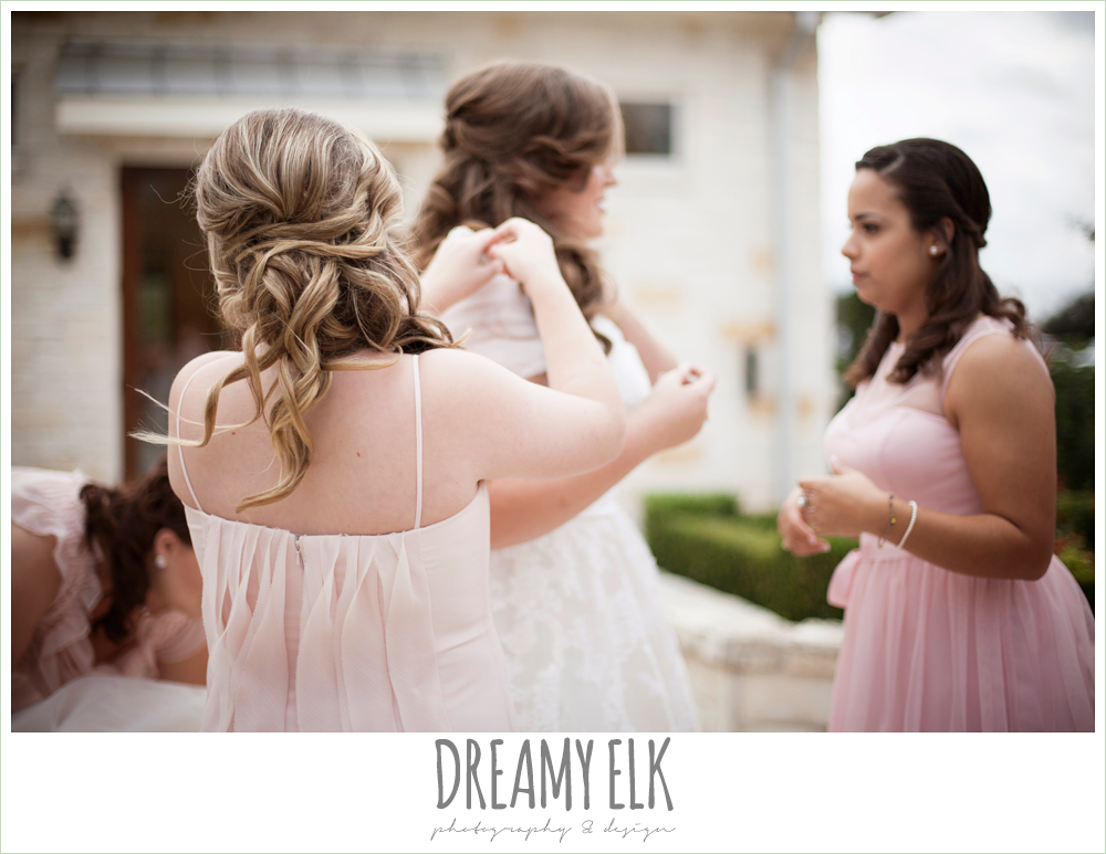 blush toned bridesmaids dresses, houston winter wedding {dreamy elk photography and design}