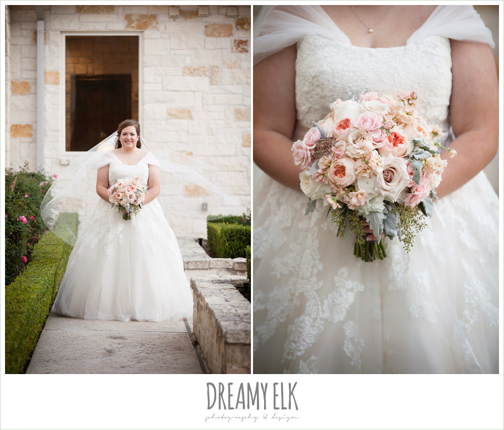 belle inspired wedding dress, blush toned wedding bouquet, houston winter wedding {dreamy elk photography and design}