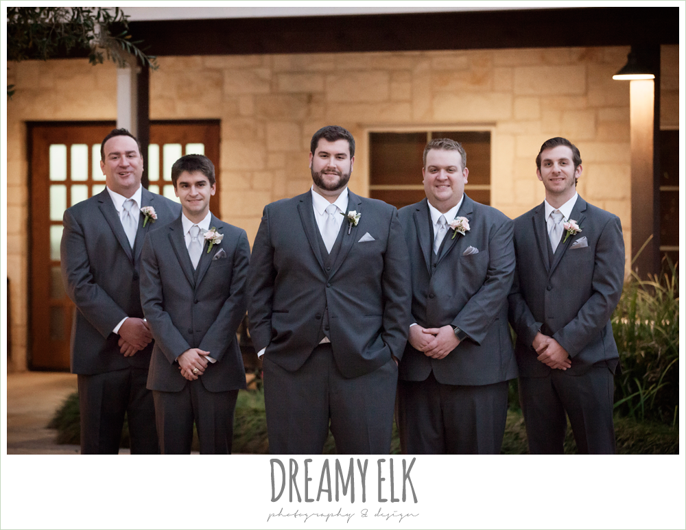 groom and groomsmen in gray suits, houston winter wedding {dreamy elk photography and design}