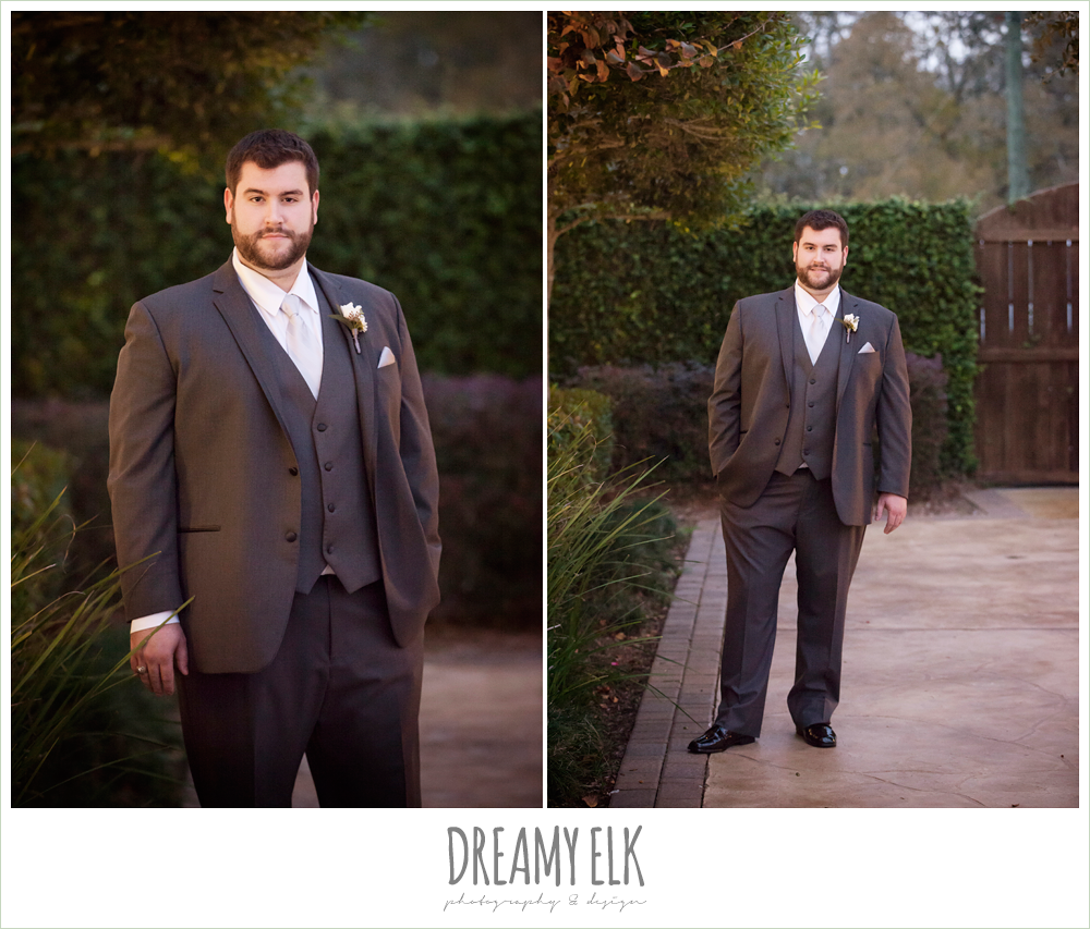 groom in gray three piece suit, houston winter wedding {dreamy elk photography and design}