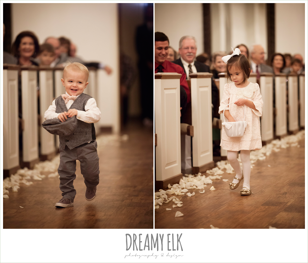 cute ring bearer and flower girl coming down the aisle, houston winter wedding {dreamy elk photography and design}