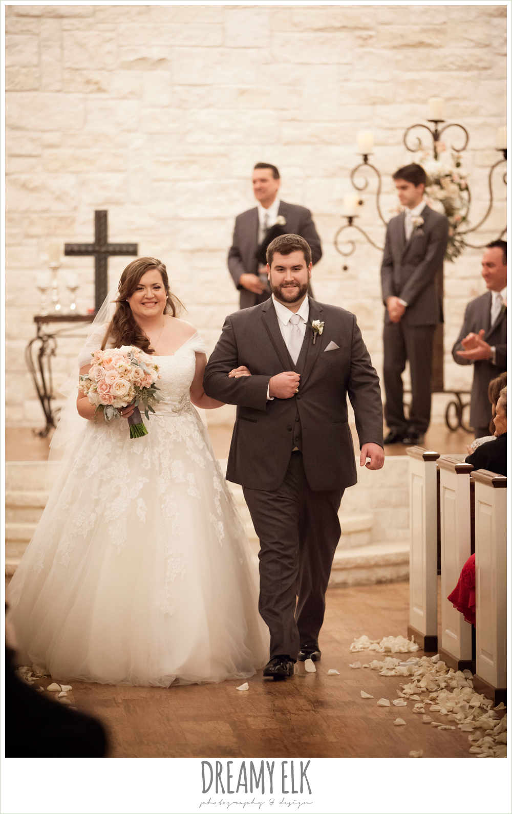 bride and groom walking down the aisle, briscoe manor, houston winter wedding {dreamy elk photography and design}