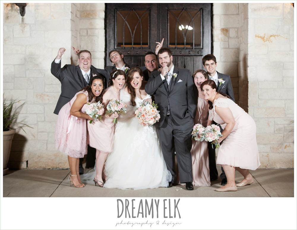 blush toned bridesmaids dresses, gray suits, houston winter wedding photo {dreamy elk photography and design}