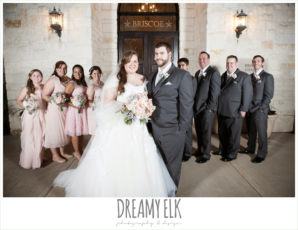 blush toned bridesmaids dresses, gray suits, briscoe manor, houston winter wedding photo {dreamy elk photography and design}