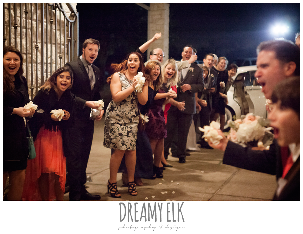 guests throwing rose petals, briscoe manor, houston winter wedding photo {dreamy elk photography and design}
