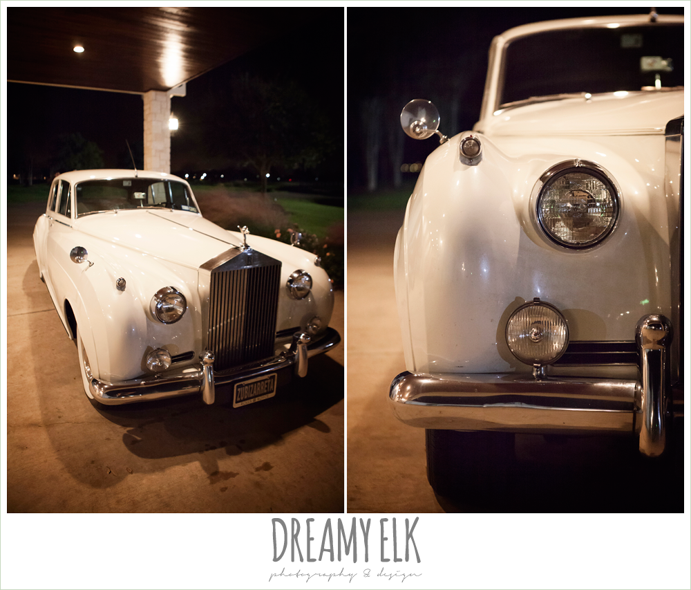 rolls royce getaway car at wedding, briscoe manor, houston winter wedding photo {dreamy elk photography and design}