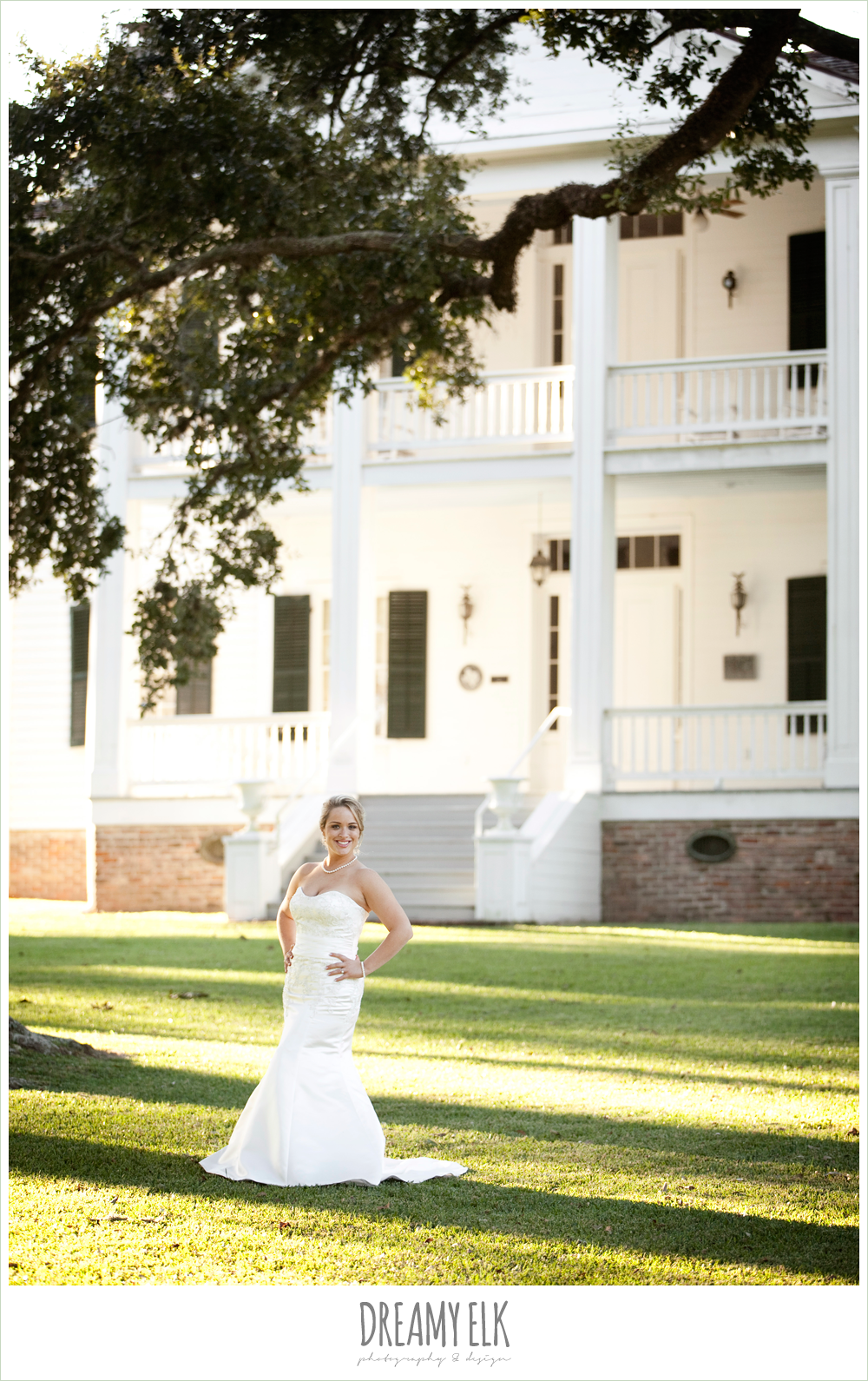 sunset bridal photo, liendo plantation, trumpet satin wedding dress, white wedding bouquet {dreamy elk photography and design}