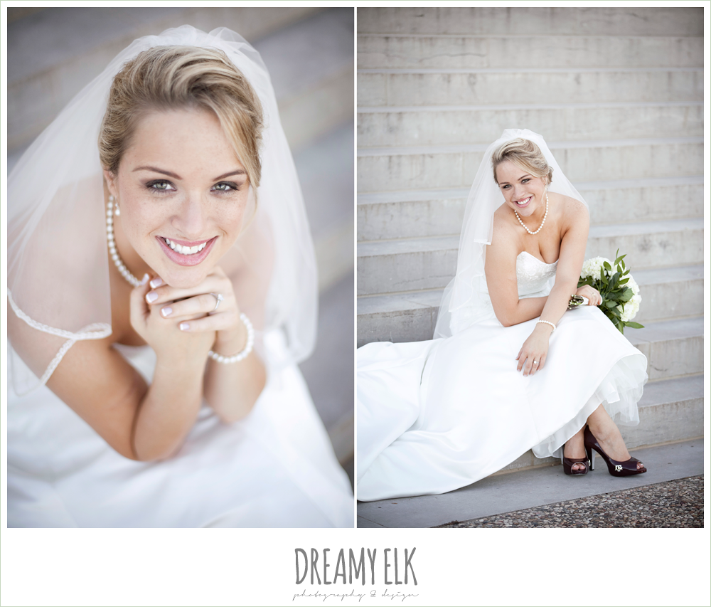 trumpet satin wedding dress, white wedding bouquet {dreamy elk photography and design}